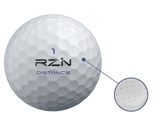 RZN DISTANCE Golf Ball micro dimple surface